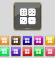 Dices icon sign Set with eleven colored buttons vector image