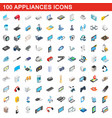 100 appliances icons set isometric 3d style vector image vector image
