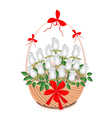 A Brown Basket of Lovely White Roses vector image vector image