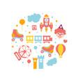 amusement park elements round shape banner vector image