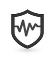an isolated shield with an pulse or heart beat vector image vector image