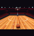 basketball on floor vector image