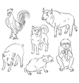 bull cock dog monkey pig rat vector image