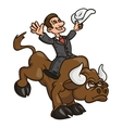 Businessman is riding bull 2 vector image vector image