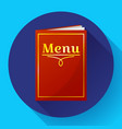 cafe restaurant red menu book icon in flat style vector image vector image