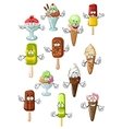Cartoon ice cream characters for desserts design vector image vector image