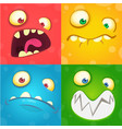 cartoon monster faces set vector image vector image