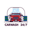 carwash line style banner vector image vector image