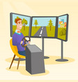 caucasian man playing video game with gaming wheel vector image vector image