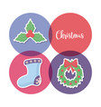 christmas sock with set icons vector image vector image