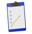 Clipboard with checklist and pencil - vector image