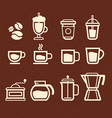 Coffee Tea and Drinks icons set vector image vector image