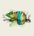 color calligraphic ink silhouette of a chameleon vector image vector image