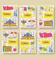 country turkey brochure cards thin line set vector image vector image