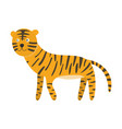 cute cartoon orange black striped smiling tiger vector image vector image