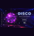 disco party poster dance and music night party vector image