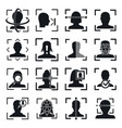face recognition system id icons set simple style vector image
