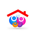 family under a roof icon vector image