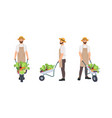 farmer or agricultural worker pulling wheelbarrow vector image vector image