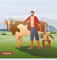 farmer with cow flat composition vector image