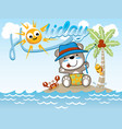 fishing cartoon at holiday time vector image