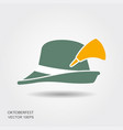 flat design green oktoberfest hat on white vector image vector image