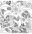 floral decorative background Black and white vector image vector image