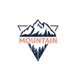 forest mountain outdoor logo design in triangle vector image vector image