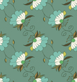 Green hand drawn seamless pattern with flowers vector image vector image