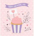happy valentines day sweet cupcake hearts love vector image vector image