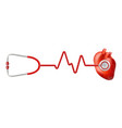 human heart and heart beat on ekg with stethoscope vector image vector image