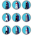 Lighthouses icons in knottet circle vector image vector image