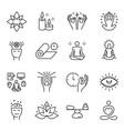 meditation spiritual monochrome line icon set vector image