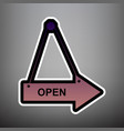 open sign violet gradient vector image vector image