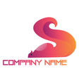 pink and orange squirrel with a blank text logo vector image