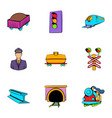 platform icons set cartoon style vector image vector image