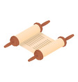 rolled torah icon isometric style vector image vector image