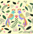 seamless pattern colorful couple bird with flower vector image vector image