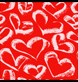 seamless white hearts pattern on a red background vector image vector image
