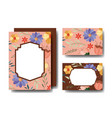 set cards handmade with floral decoration vector image