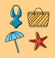 set icons best summer season vacation vector image