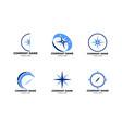 set of compass logo template icon design vector image vector image