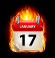 seventeenth january in calendar burning icon on vector image vector image