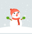 snowman wearing knit hat vector image