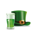 st patrick day green hat glass beer party vector image vector image