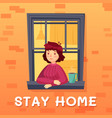 stay home card girl self isolation in room vector image