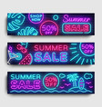 summer sale neon collection horizontal banner vector image