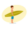 surfer stands sideways holding board for swimming vector image vector image