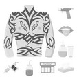 tattoo drawing on the body monochrome icons in vector image
