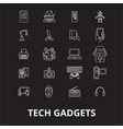 tech gadgets editable line icons set on vector image